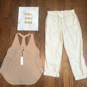 Lou & Grey cinched Capri pants NWT